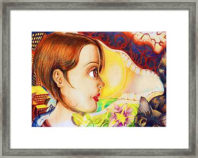 Framed Print featuring the drawing New Beginning by Shawna Rowe