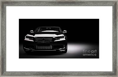 New Black Metallic Sedan Car In Spotlight. Modern Desing, Brandless. Framed Print by Michal Bednarek