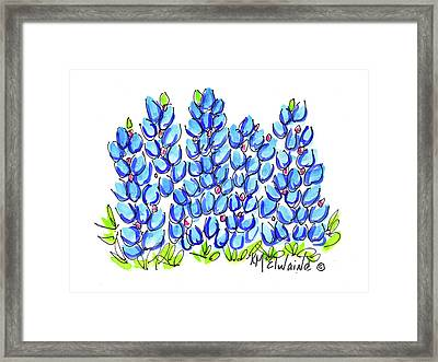 New Bluebonnet 2016 Watercolor Painting By Kmcelwaine Framed Print by Kathleen McElwaine