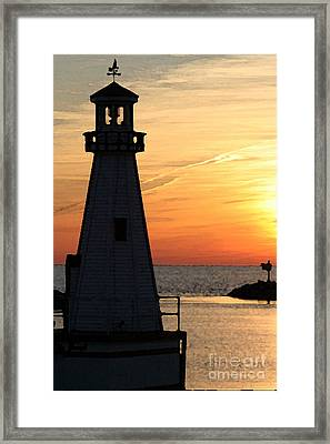 New Buffalo Lighthouse At Sunset Framed Print by Christopher Purcell