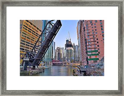 New Buildings Seen From Kinzie Street Framed Print by Frozen in Time Fine Art Photography