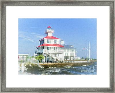 New Canal Lighthouse - Watercolor  Framed Print