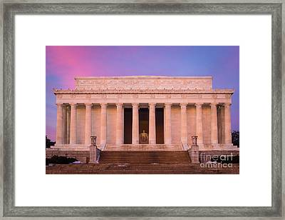 New Day At The Lincoln Memorial Framed Print by Inge Johnsson