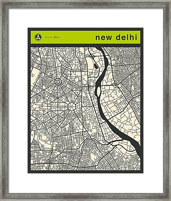 New Delhi Street Map Framed Print by Jazzberry Blue