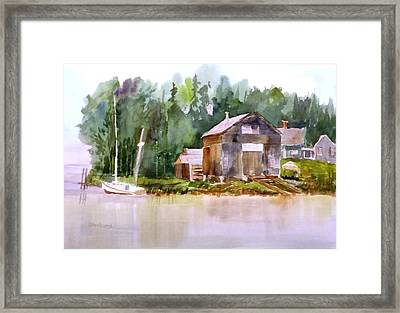 New England Boat Repair Framed Print by Larry Hamilton