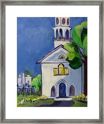 New England Church Framed Print by Betty Pieper