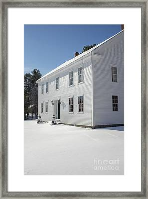 New England Colonial Home In Winter Framed Print by Edward Fielding