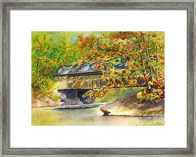 New England  Covered Bridge Framed Print by Karen Fleschler