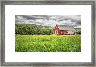 New England Farm Landscape Framed Print by Edward Fielding