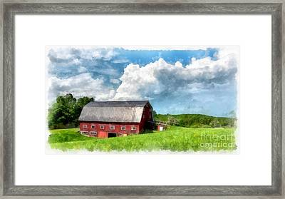New England Farm Landscape Watercolor Framed Print