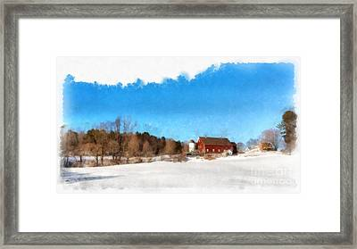 New England Farm Winter South Woodstock Vermont Framed Print