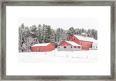 New England Farm With Red Barns In Winter Framed Print