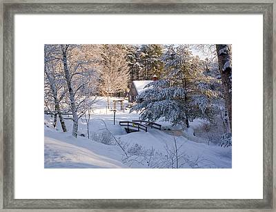 New England House And Forest In The Snow Framed Print by David Thompson