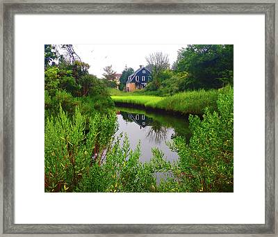 New England House And Stream Framed Print