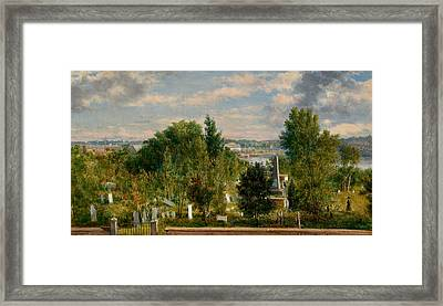 New England Landscape With Cemetery Framed Print
