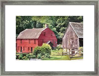 New England Red Barn Framed Print by Bob Sandler
