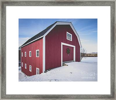 Framed Print featuring the photograph New England Red Barn Winter Orford by Edward Fielding