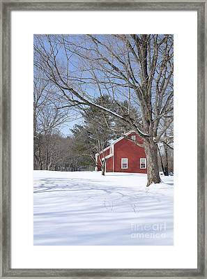New England Red House Winter Framed Print by Edward Fielding