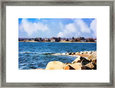 New England Shoreline - Painterly Framed Print by Judy Palkimas