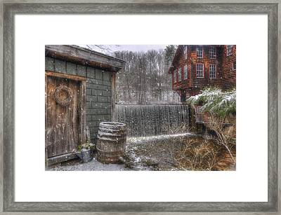 New England Snow Scenes - Frye's Measure Mill - Wilton, Nh Framed Print