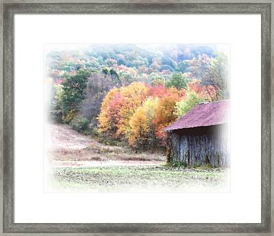 New England Tobacco Barn In Watercolor Framed Print