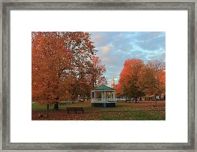 New England Town Common Autumn Morning Framed Print by John Burk