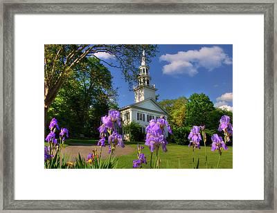 New England White Church In Spring Framed Print