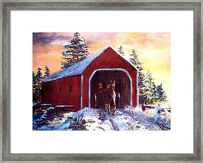New England Winter Crossing Framed Print