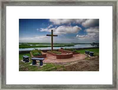 Framed Print featuring the photograph New Garden Cross At Belin Umc by Bill Barber