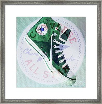 New Green Converse Framed Print