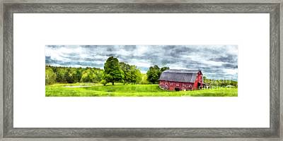 New Hampshire Landscape Red Barn Etna Framed Print
