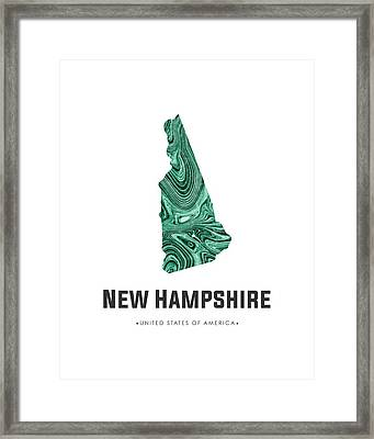 New Hampshire Map Art Abstract In Blue Green Framed Print