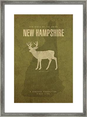 New Hampshire State Facts Minimalist Movie Poster Art Framed Print