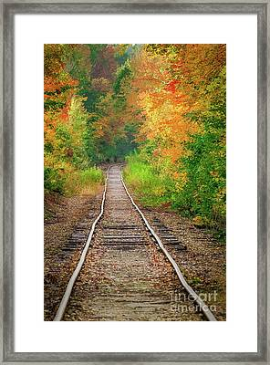 New Hampshire Train Tracks To Foliage Framed Print