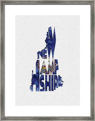 New Hampshire Typographic Map Flag Framed Print