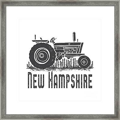 Framed Print featuring the digital art New Hampshire Vintage Tractor by Edward Fielding
