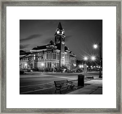 New Hanover County At Night In Black And White Framed Print