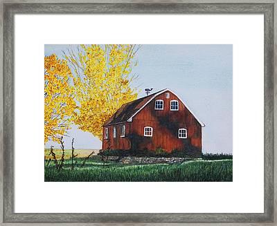 New Hartford Barn Framed Print by Sharon Farber