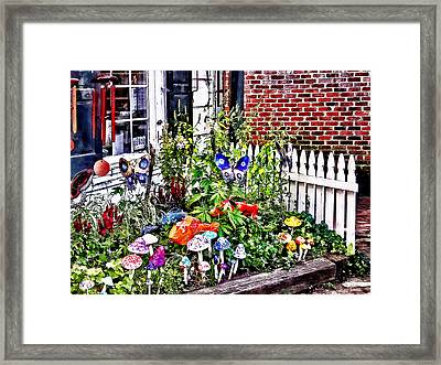 New Hope Pa - Garden Of Ceramic Mushrooms Framed Print by Susan Savad