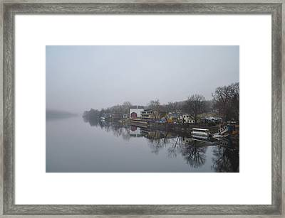 New Hope River View On A Misty Day Framed Print by Bill Cannon