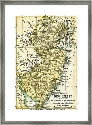 New Jersey Antique Map 1891 Framed Print