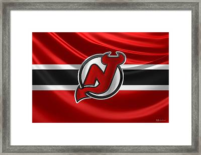 New Jersey Devils - 3 D Badge Over Silk Flag Framed Print by Serge Averbukh