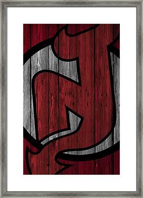 New Jersey Devils Wood Fence Framed Print by Joe Hamilton