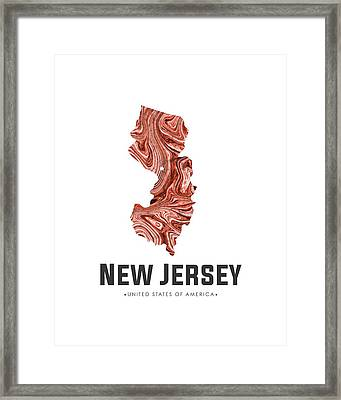 New Jersey Map Art Abstract In Brown Framed Print