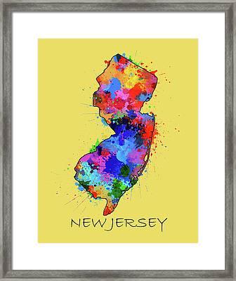 New Jersey Map Color Splatter 4 Framed Print