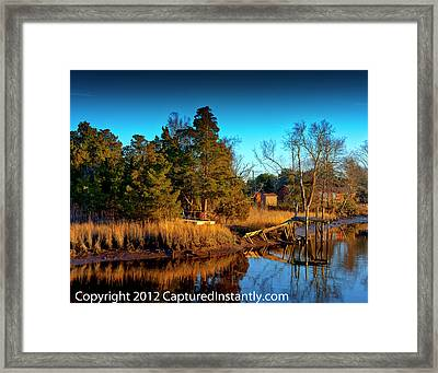 New Jersey River Bank Framed Print by Kevin Hill