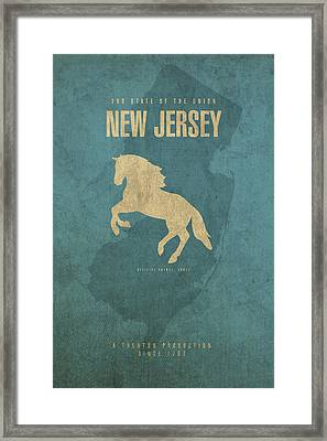 New Jersey State Facts Minimalist Movie Poster Art Framed Print