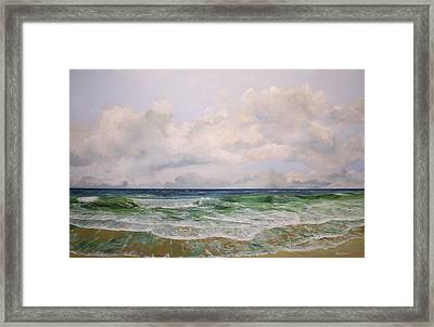 Framed Print featuring the painting New Jersey Surf by Ken Ahlering