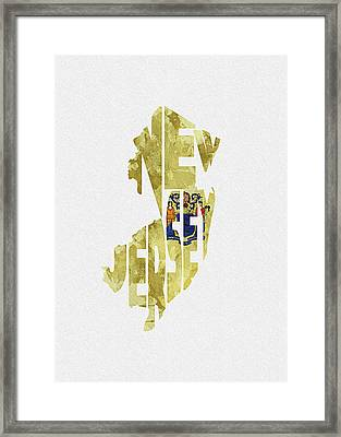 New Jersey Typographic Map Flag Framed Print