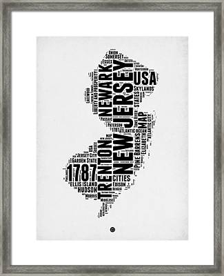 New Jersey Word Cloud 2 Framed Print by Naxart Studio